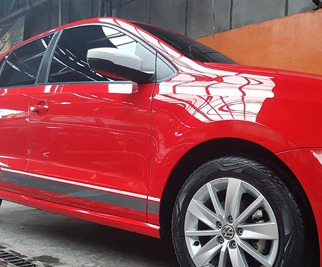 Hasil Coating AutoTriz di mobil VW-Polo